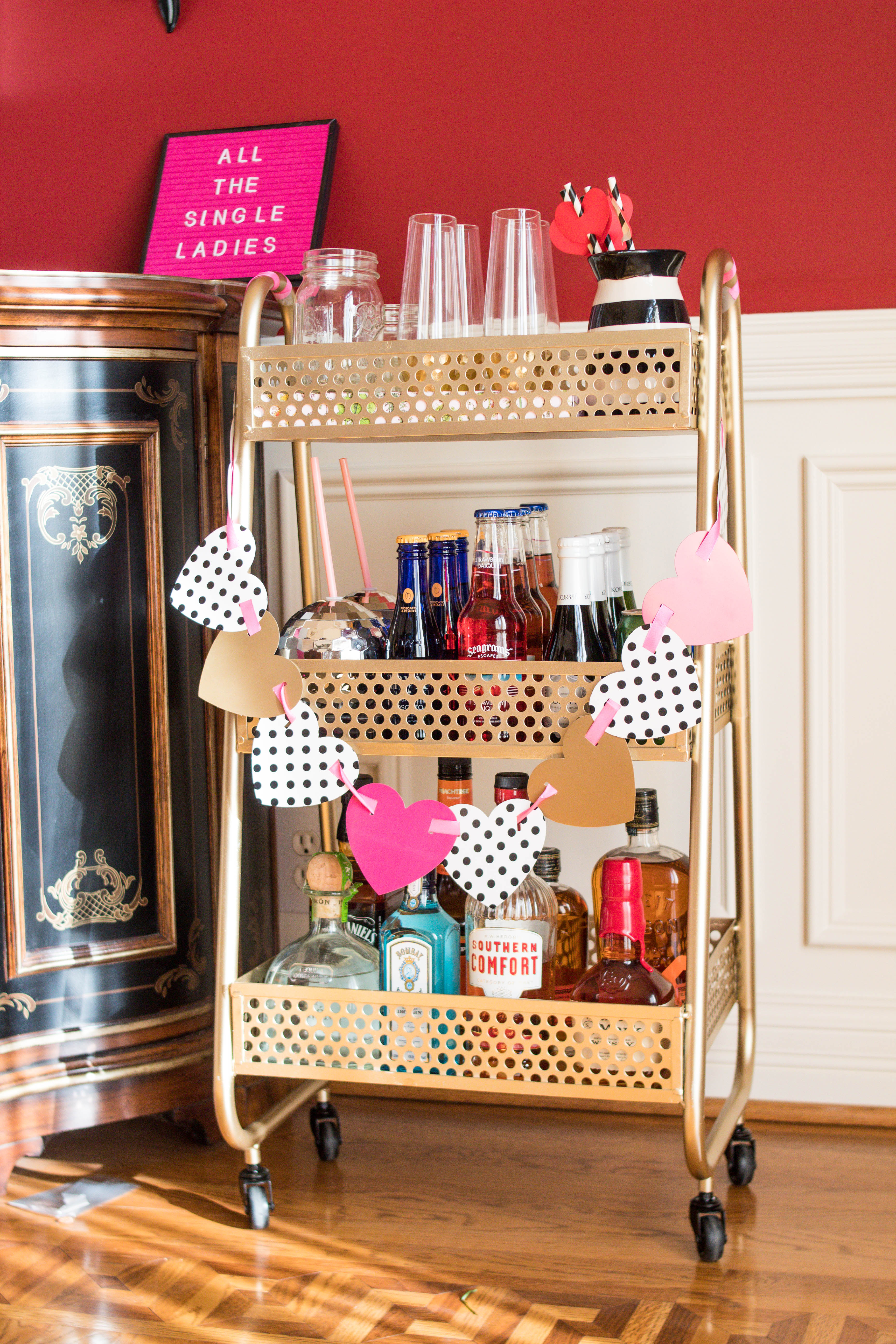how to decorate a bar cart for galentine 39 s day with gordmans. Black Bedroom Furniture Sets. Home Design Ideas