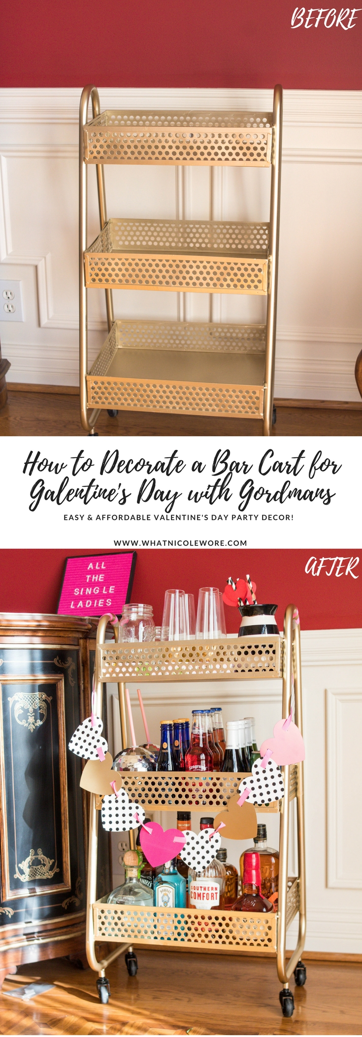 How to Decorate a Bar Cart for Galentine's Day with Gordmans